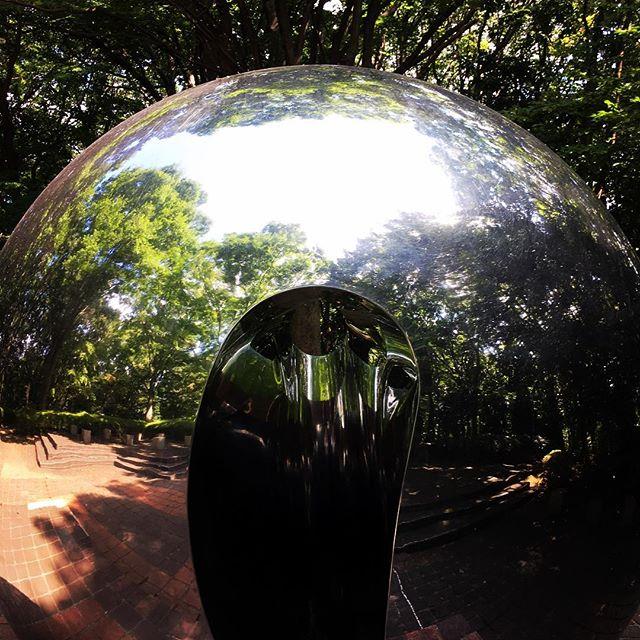 【ぐもにん2519】世界の広さは自分次第。今日も「笑顔の選択」と。#goodmorning #green #ball #mirror #object #おはよう
